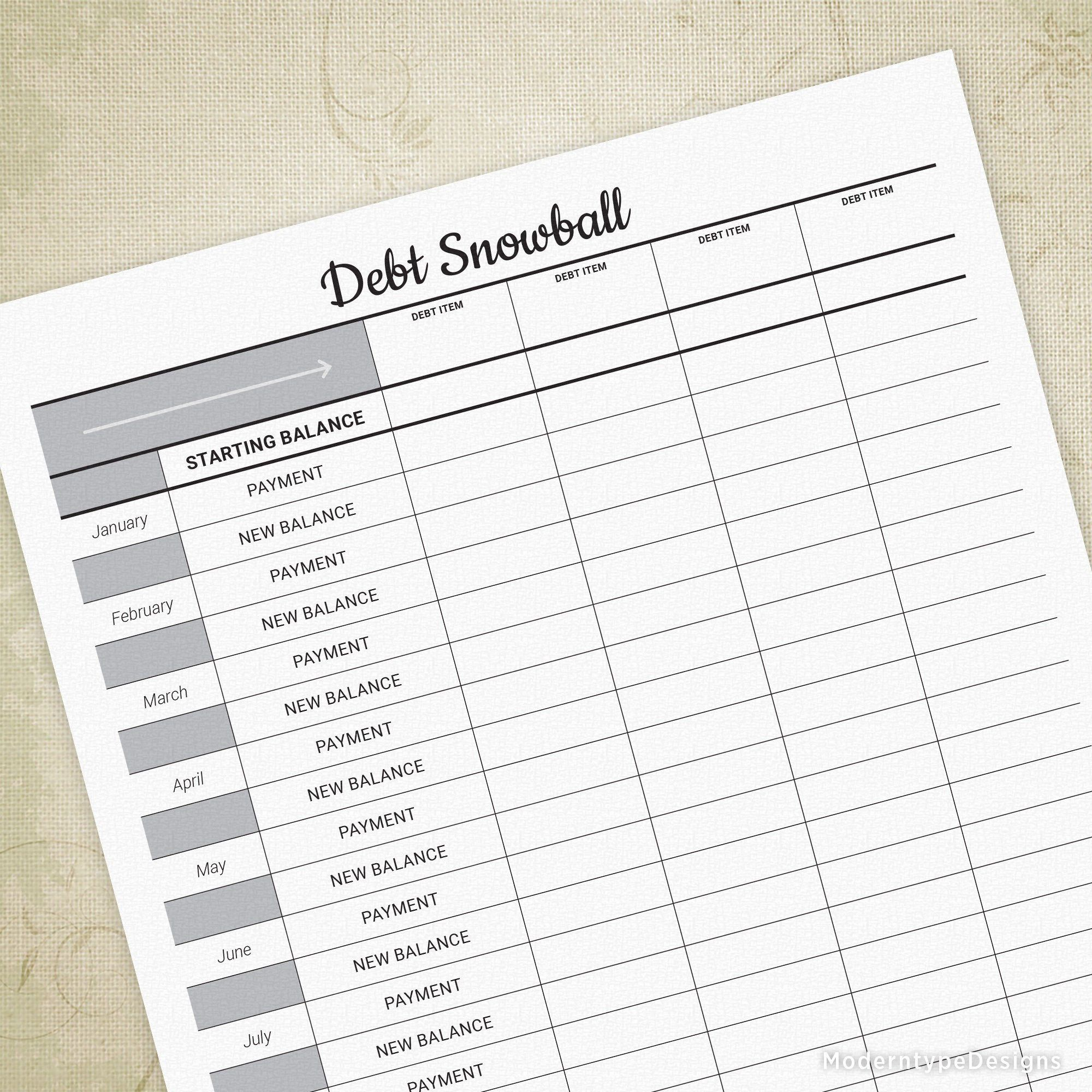 Debt Snowball Printable Sheet Track Finances Reduce