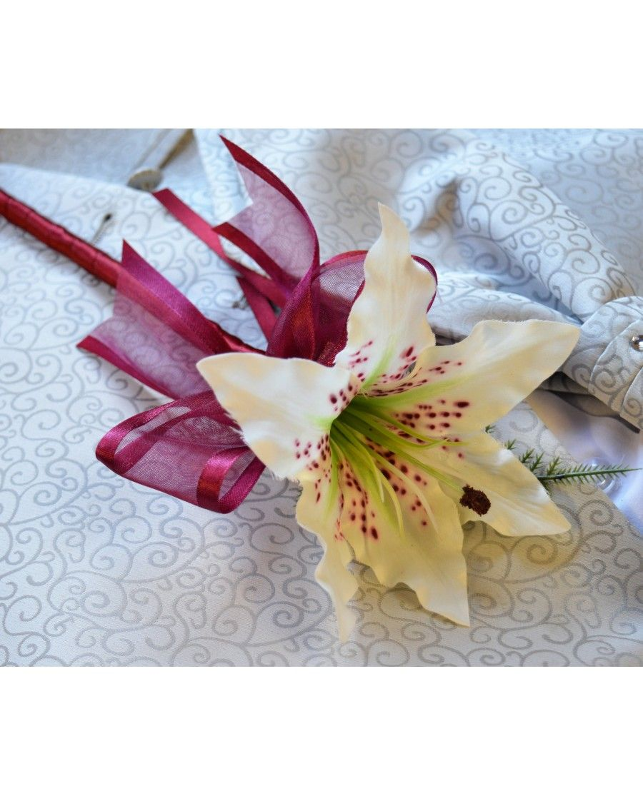 Tiger lily flower girl bridesmaid wand ivory silk lily wedding tiger lily flower girl bridesmaid wand ivory silk lily wedding flower izmirmasajfo Image collections