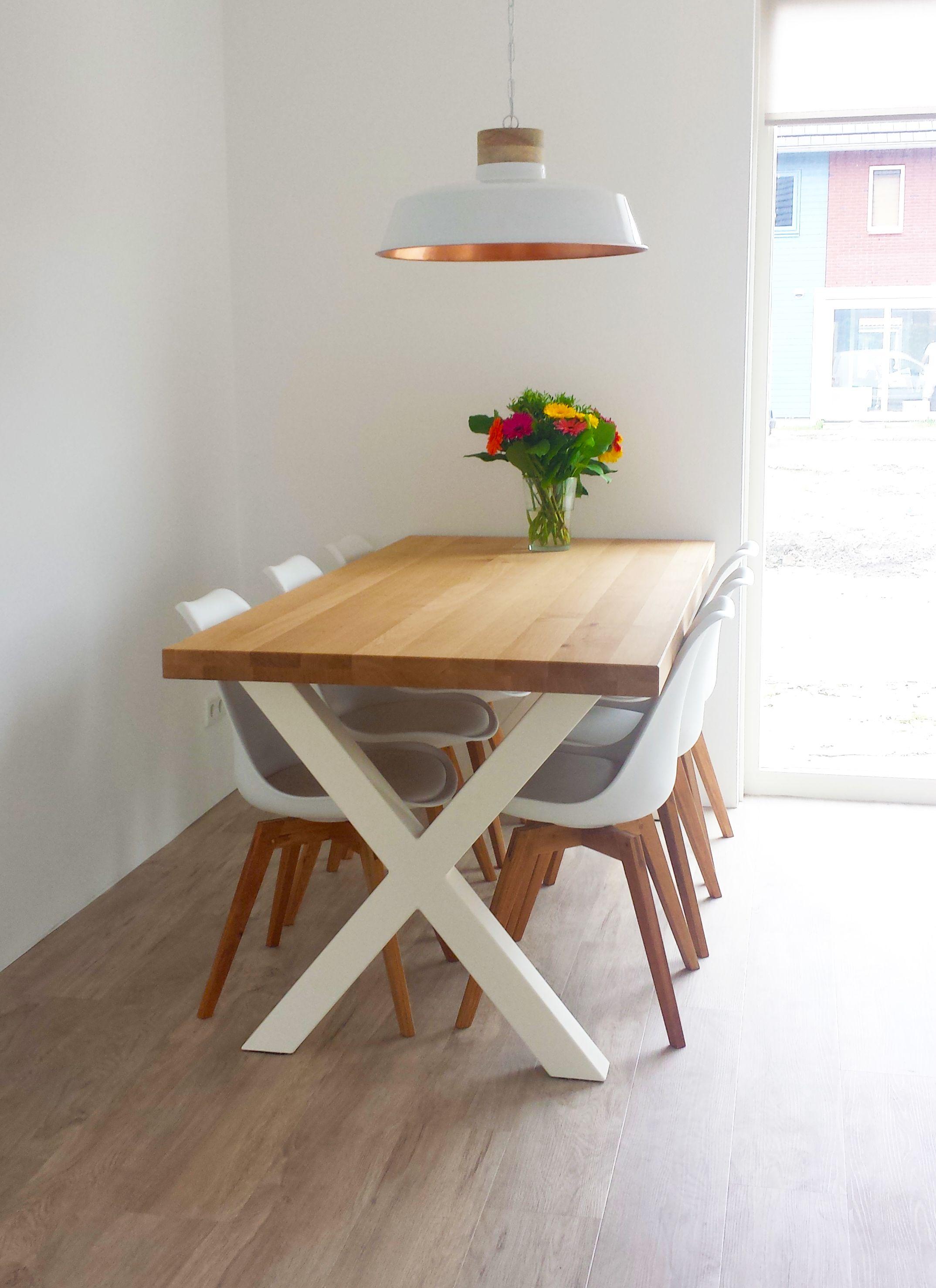 Tafel XAV wit - eikenhout