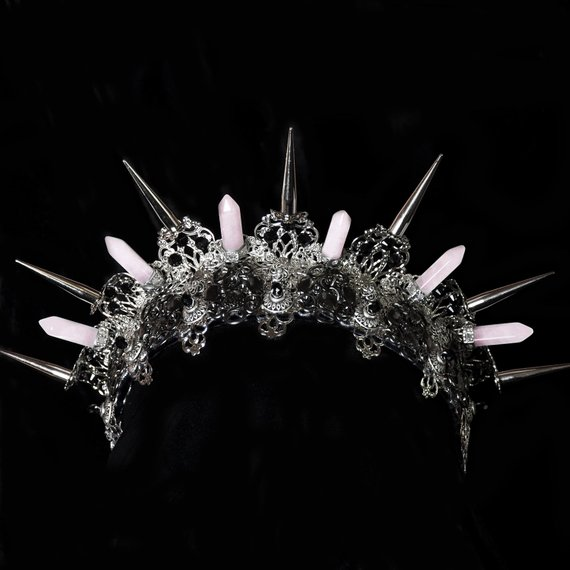 Hairstyles With Crown Queen: BELLATRIX Spiked Tiara, Silver Spiked Tiara, Quartz Tiara