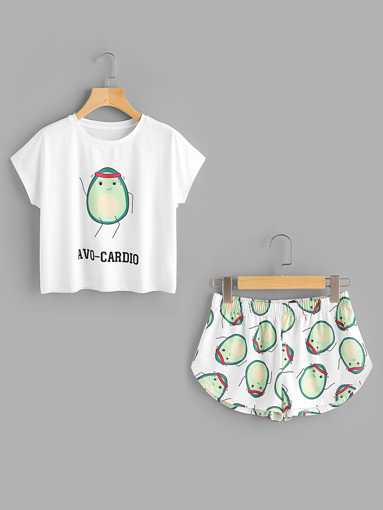 9b633c7662 Shop Cartoon Avocado Print Tee And Shorts Set online. SheIn offers Cartoon  Avocado Print Tee And Shorts Set & more to fit your fashionable needs.