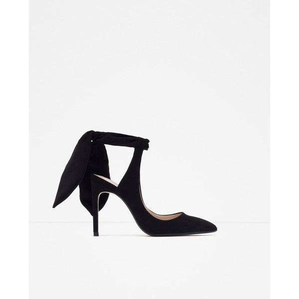 Zara Slingback High Heel Shoes With Bow (£42) ❤ liked on Polyvore featuring shoes, buty, black, black slingback shoes, black leather shoes, leather high heel shoes, kohl shoes and slingback shoes