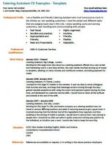 Catering Assistant Cv Example