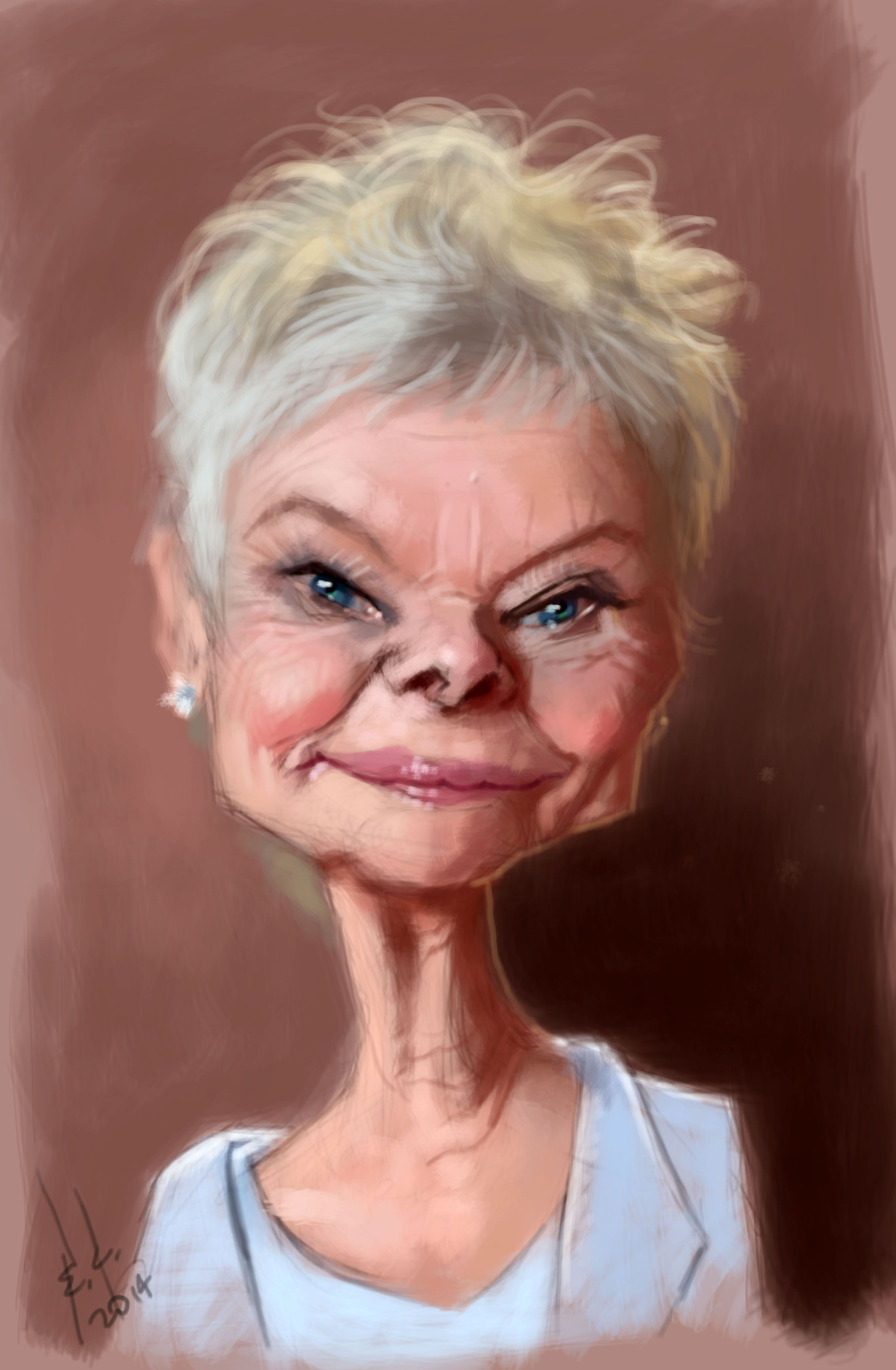 Judi Dench Photoshop And Wacom Tablet My Caricatures - Photoshop master combines two celebrities together to create one famous face