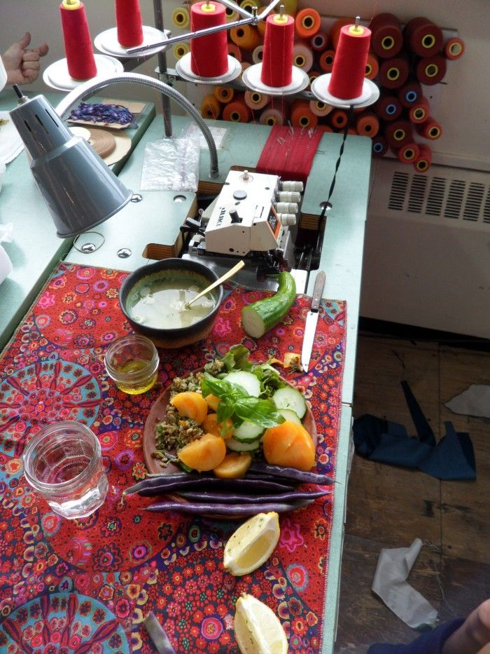 Lunch in studio on sewing machine