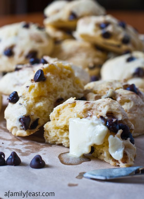 These Chocolate Chip Scones are moist, tender and delicious.  Pin this now - these are seriously the best scones ever!  This recipe can be used for a lot of other flavor variations too.