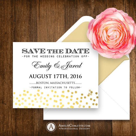 Printable Save the Date Gold Confetti Glam Girly Weddings Save the ...