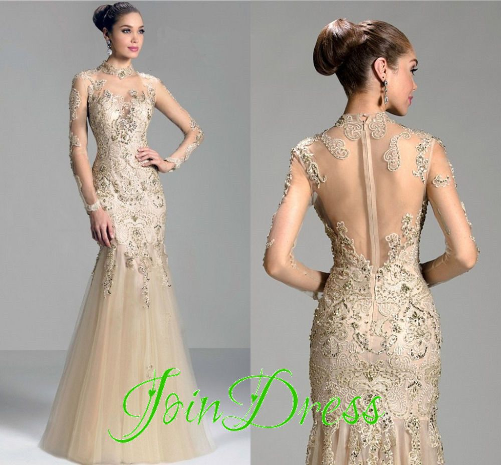 Appliques tulle sexy see through long sleeves mermaid formal prom