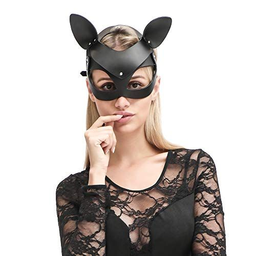 HOT TIME Leather Rhinestone Masquerade Cat Ears Handwork Cat Women Mask for Cosplay Costum