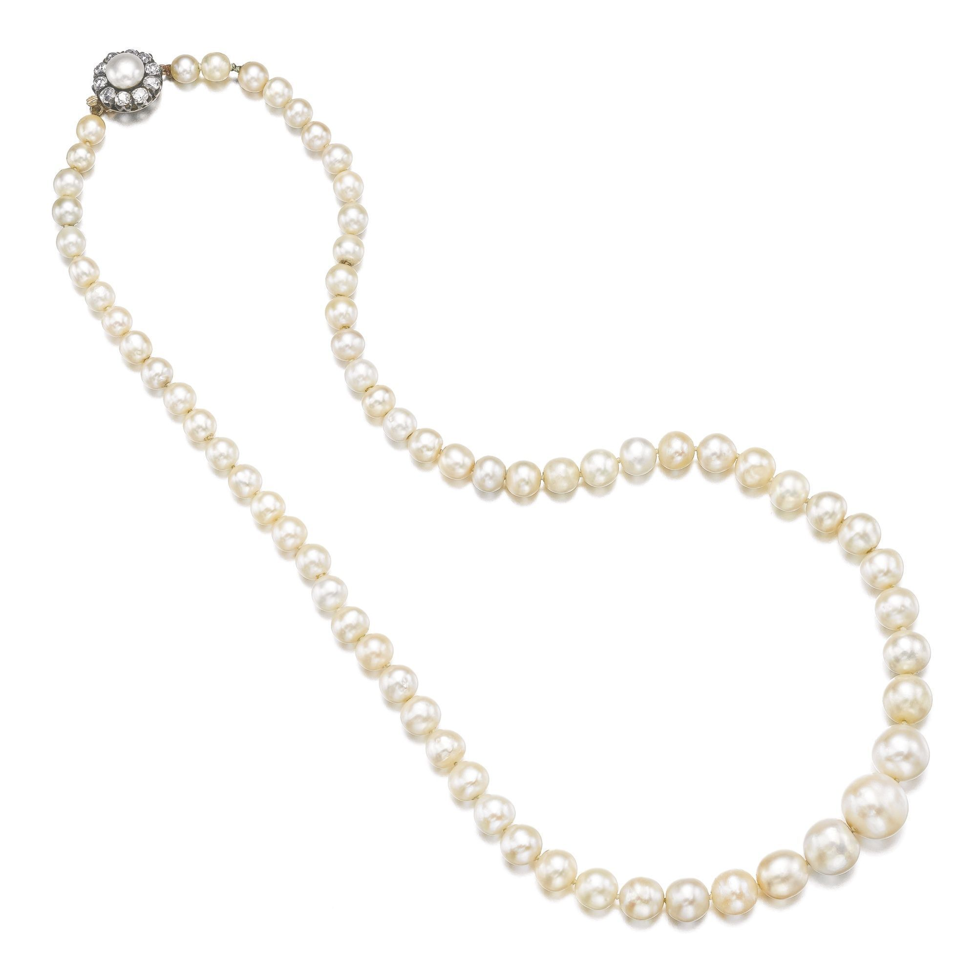Natural pearl and diamond necklace, the sixty-seven pearls were found to be  natural, saltwater.   Lot   Sotheby s 235f29614be3