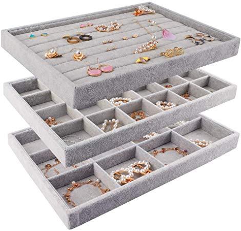 Amazon Com Mebbay Stackable Velvet Jewelry Trays Organizer