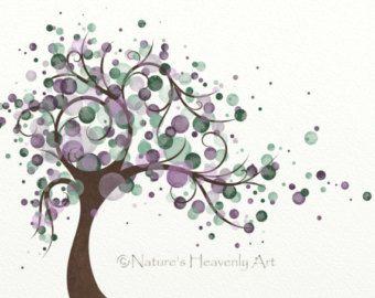 Púrpura arte árbol de círculo azul de por NaturesHeavenlyArt