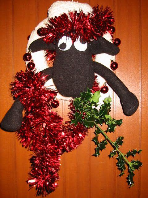 Shaun The Sheep ate my Christmas wreath!