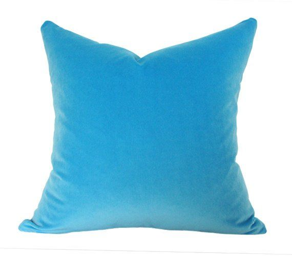 Capri Blue Velvet Designer Pillow Cover - Custom Made-to-Order - Luxury High End Cushion - limited images