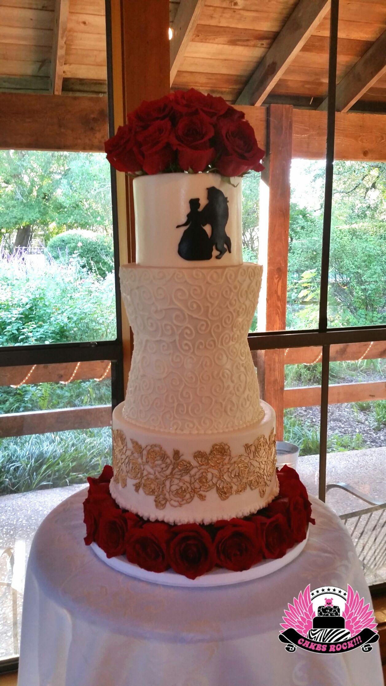 Beauty the Beast themed wedding cake Austin TX Cakes ROCK