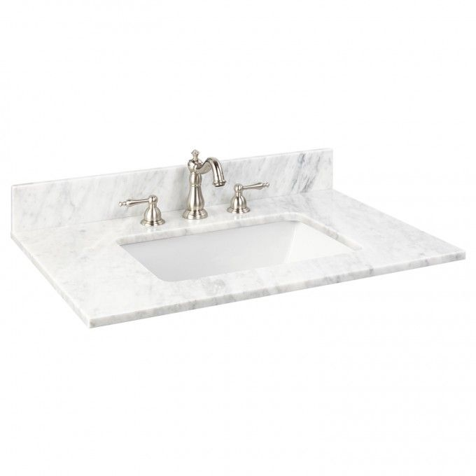 25 X 22 Marble Vanity Top For Rectangular Undermount Sink With