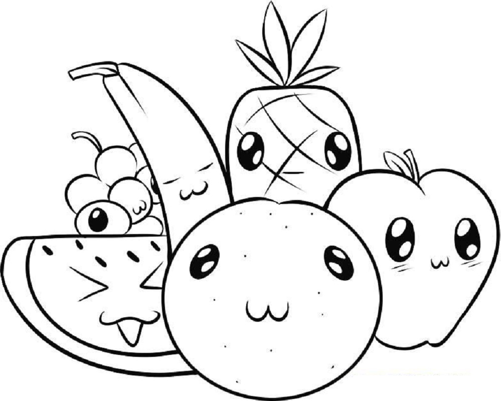 Cute Food Coloring Pages Fruits | Fruits drawing, Cute ...