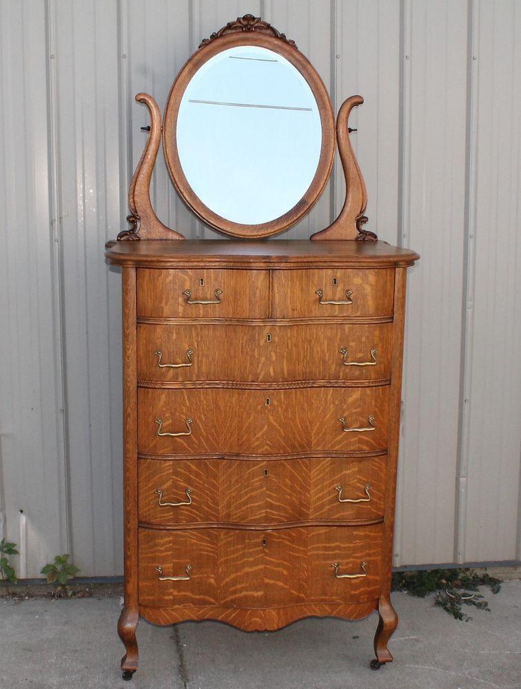 1900 10 Sligh Furniture Quartersawn Oak Highboy Lowboy Dresser W Mirrors Antiques Beds Bedroom Sets Ebay