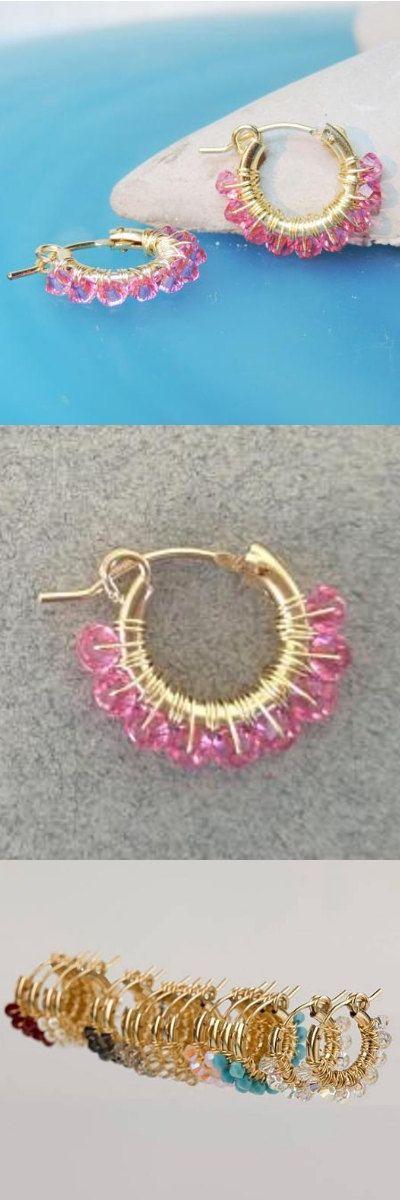 Rose Swarovski Hoops, Light Pink Hoop Earrings, 14K Goldfilled ...