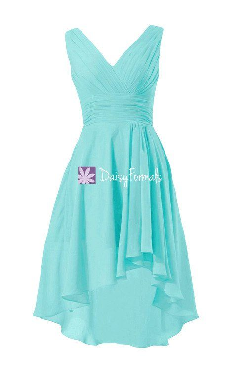 548f2d70b3a6 Fabulous aqua blue high low party dress classic tiffany blue v neckline  formal dress (bm2422)