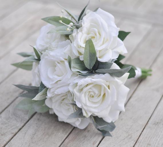 White Bridal Bouquet Wedding Flowers White Bouquet Ivory Bridal
