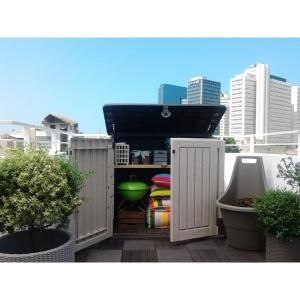 Keter Woodland 30 With Pistons 211166 At The Home Depot Outdoor Storage Sheds Resin Sheds Plastic Outdoor Storage