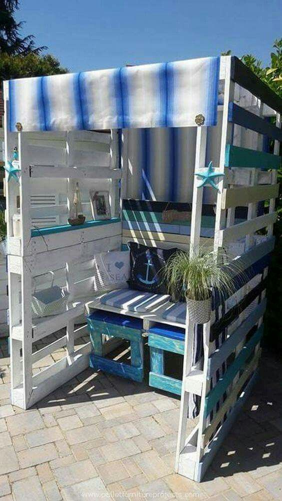 diy garden pallet cabana with striped canvas sun shade Pallet Deck Furniture Furniture Made From Wood Pallets