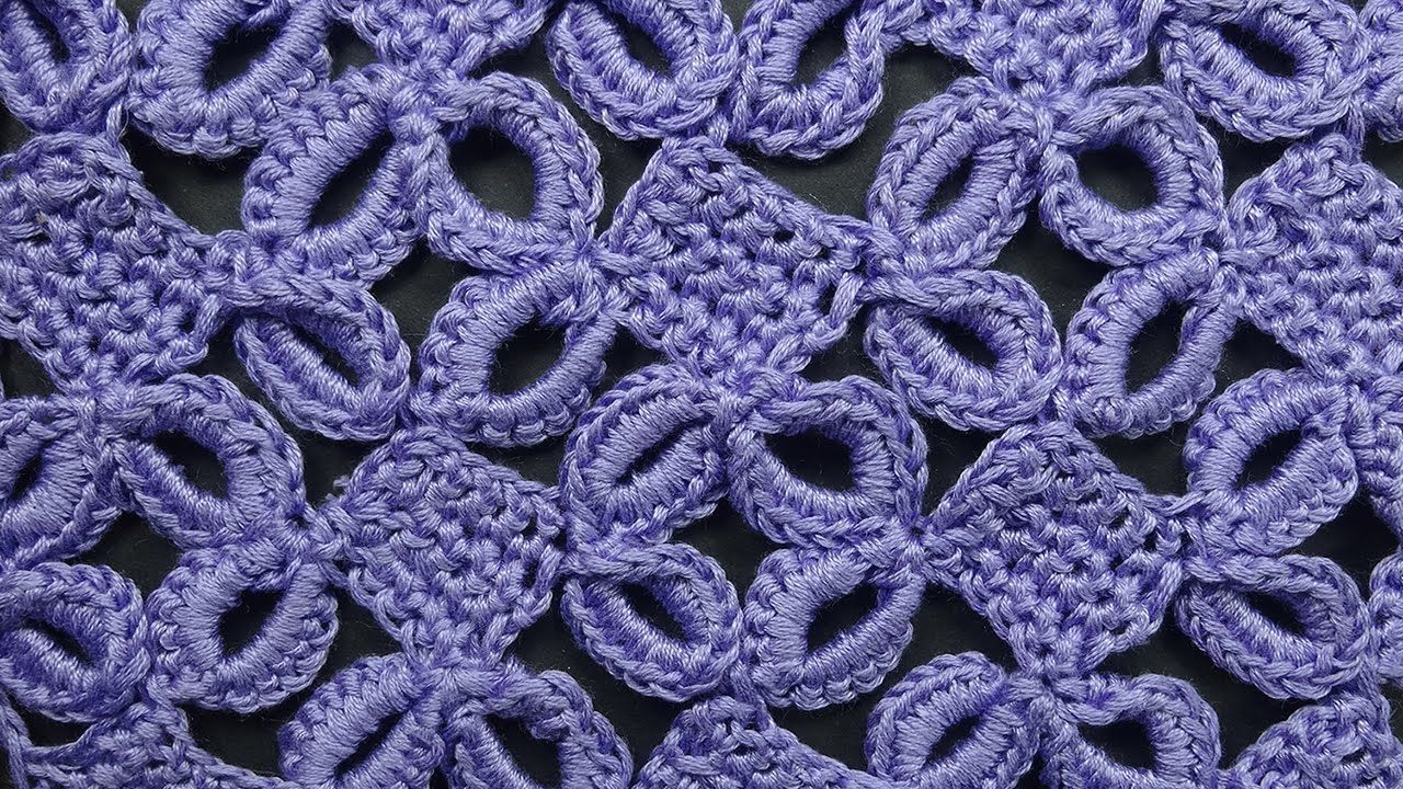 Ажурный узор с кольцами Узоры вязания крючком crochet pattern free ...
