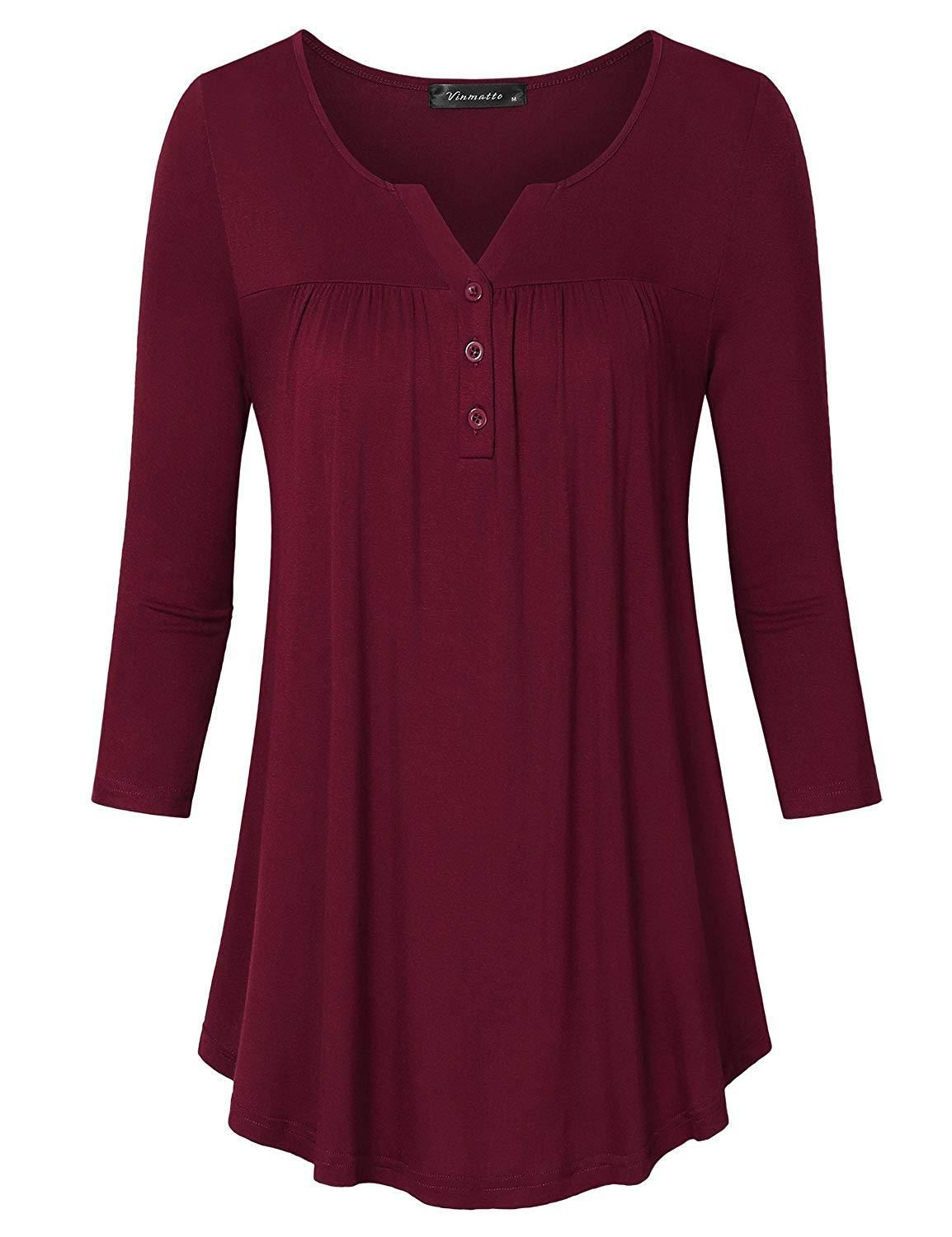 07ed22051ce8 Vinmatto Womens 34 Sleeve Henley V Neck Pleated Button Details Tunic Shirt  at Amazon Womens Clothing store -- Amazon Affiliate link.