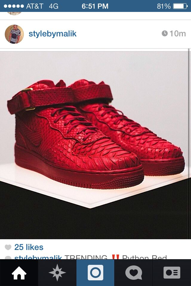 sports shoes 4c2e9 398f4 Red limited edition PHYTON NIKE AIR FORCE ONES