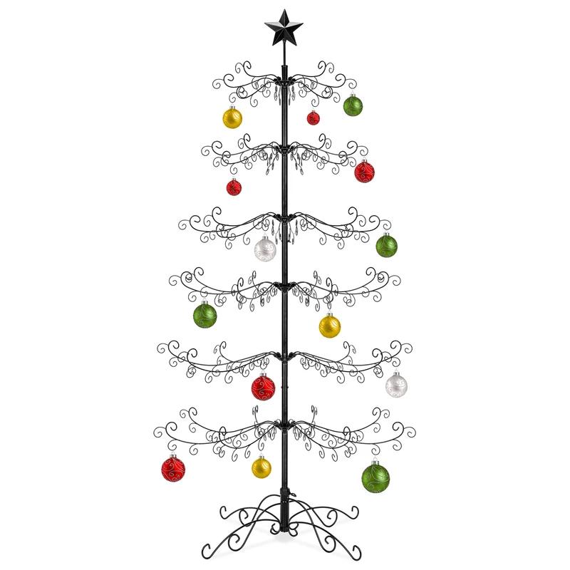 Wrought Iron Christmas Tree Ornament Display W Easy Assembly Stand In 2020 Ornament Display Ornament Tree Display Metal Christmas Tree