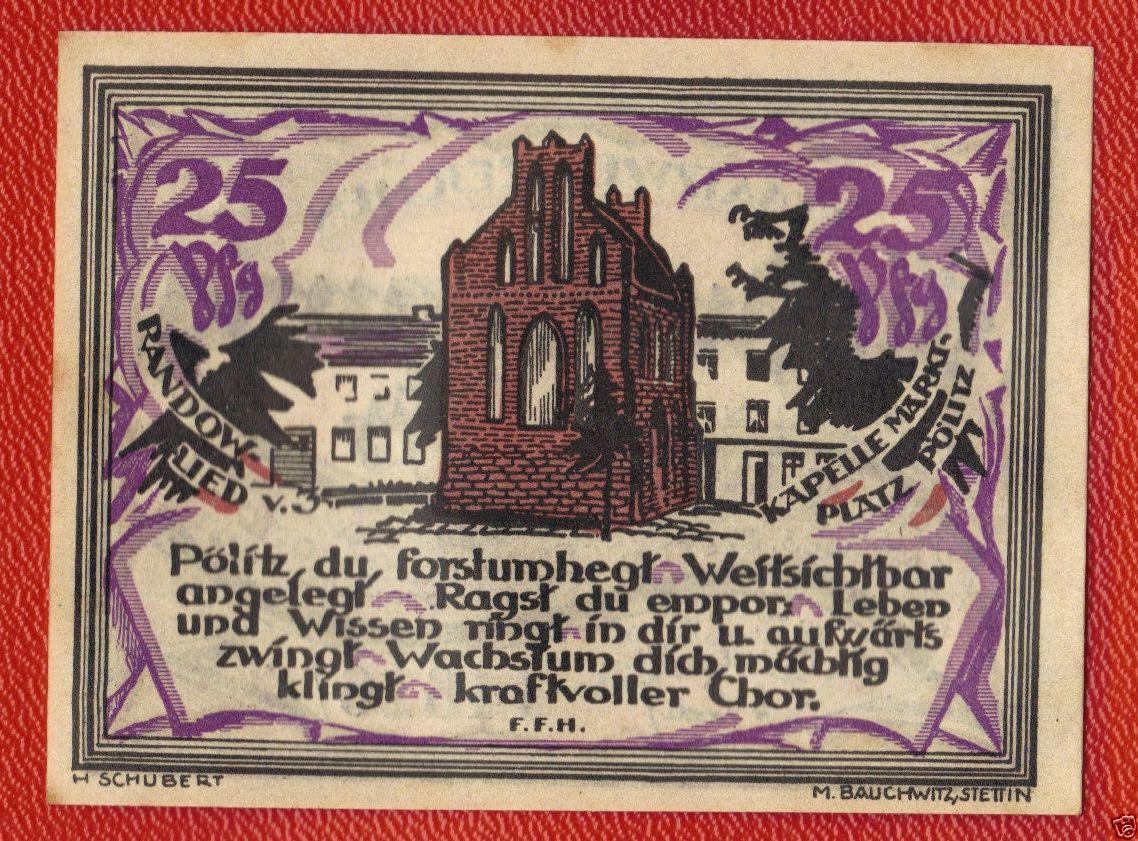 Poland Pommern Ersatzwertzeichen Randower 25 Pfennig 1921 Gultig 1922