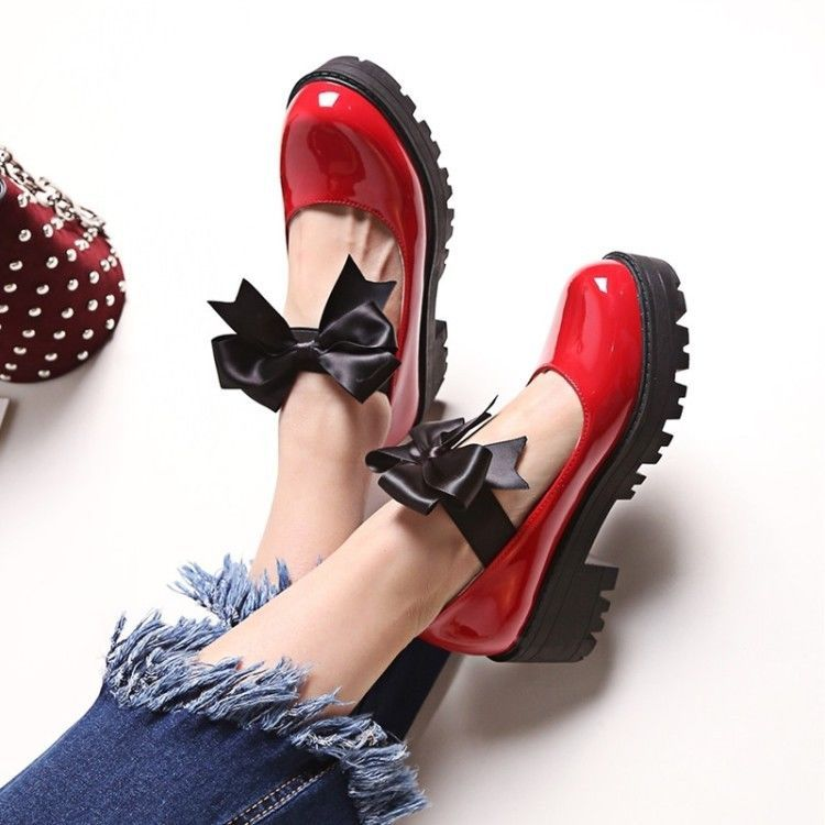 21474d3c6ec Womens Sweet Lolita Mary Jane Bowknot Chunky Mid Heels Cosplay Shoes Plus  Size