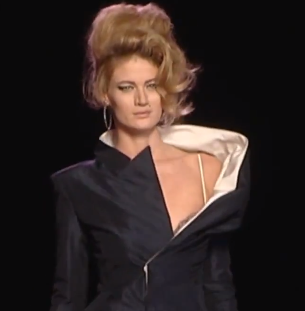Asymmetrical neck lines: turned up blazer collar and sassy gown, together at last. Thanks Gauthier.