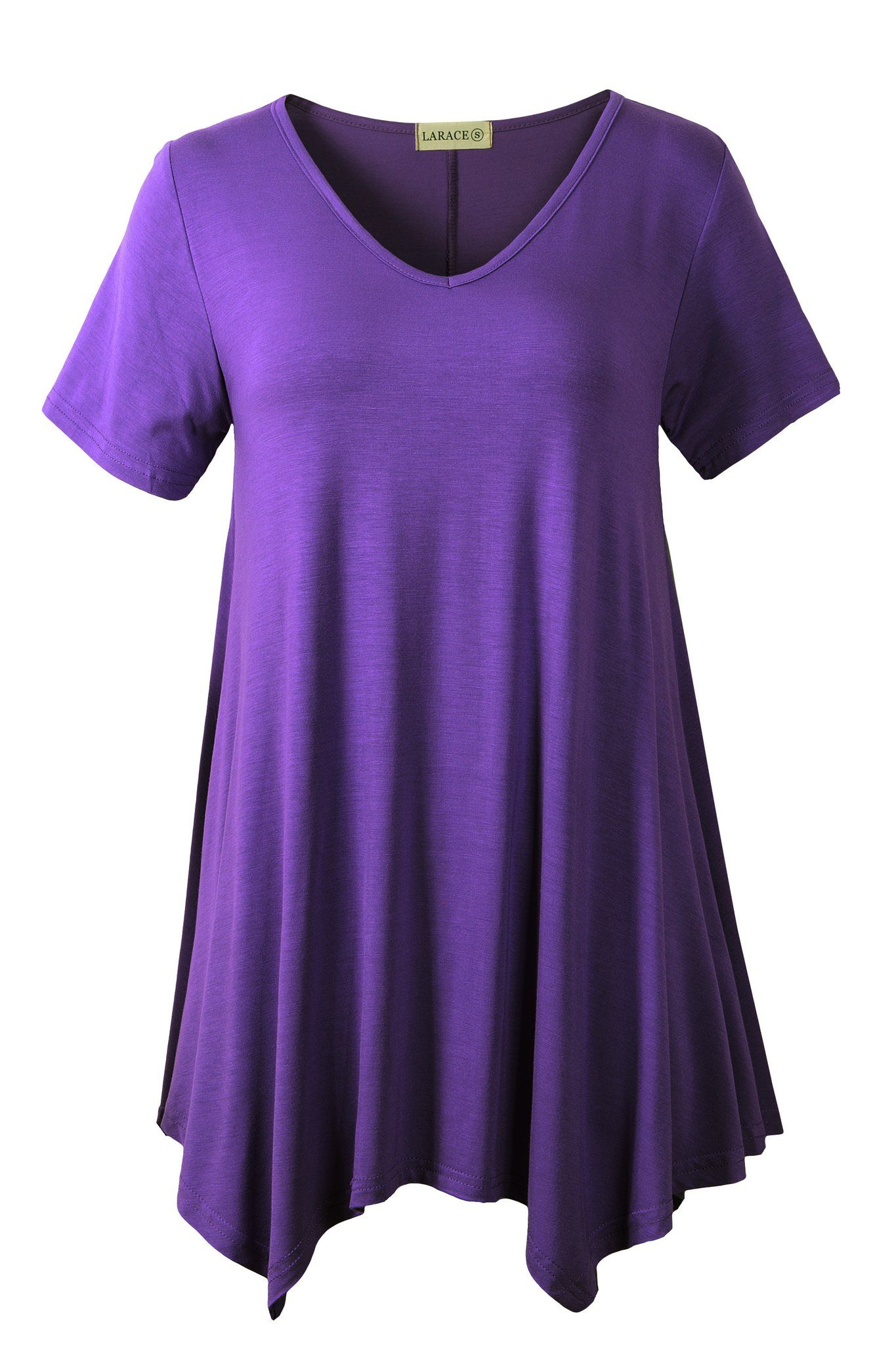 Womens Plain V Neck Plus Size Short Sleeve Casual Flared Swing Blouse Tunic Top