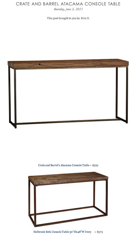 COPY CAT CHIC FIND: Crate and Barrel's Atacama Console Table VS Holbrook Sofa Console Table Ivory