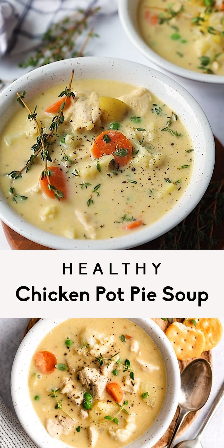 Healthy Chicken Pot Pie Soup (whole 30, dairy free