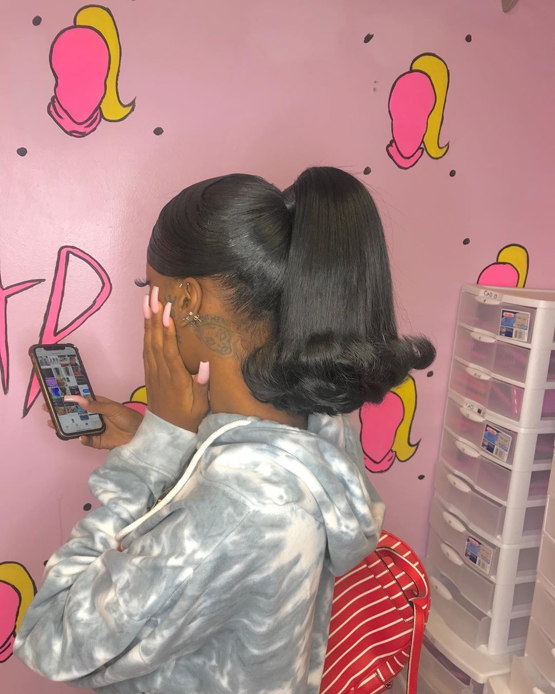 Iamsunshinemiracle On Instagram High Ponytail With Swoop Bangs By Me Book Me Booking Hair Ponytail Styles Hair Sytles Wig Hairstyles