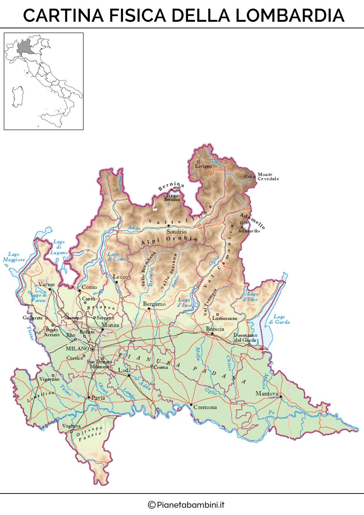 Cartina Geografica Italia Lombardia.Cartina Muta Fisica E Politica Della Lombardia Da Stampare