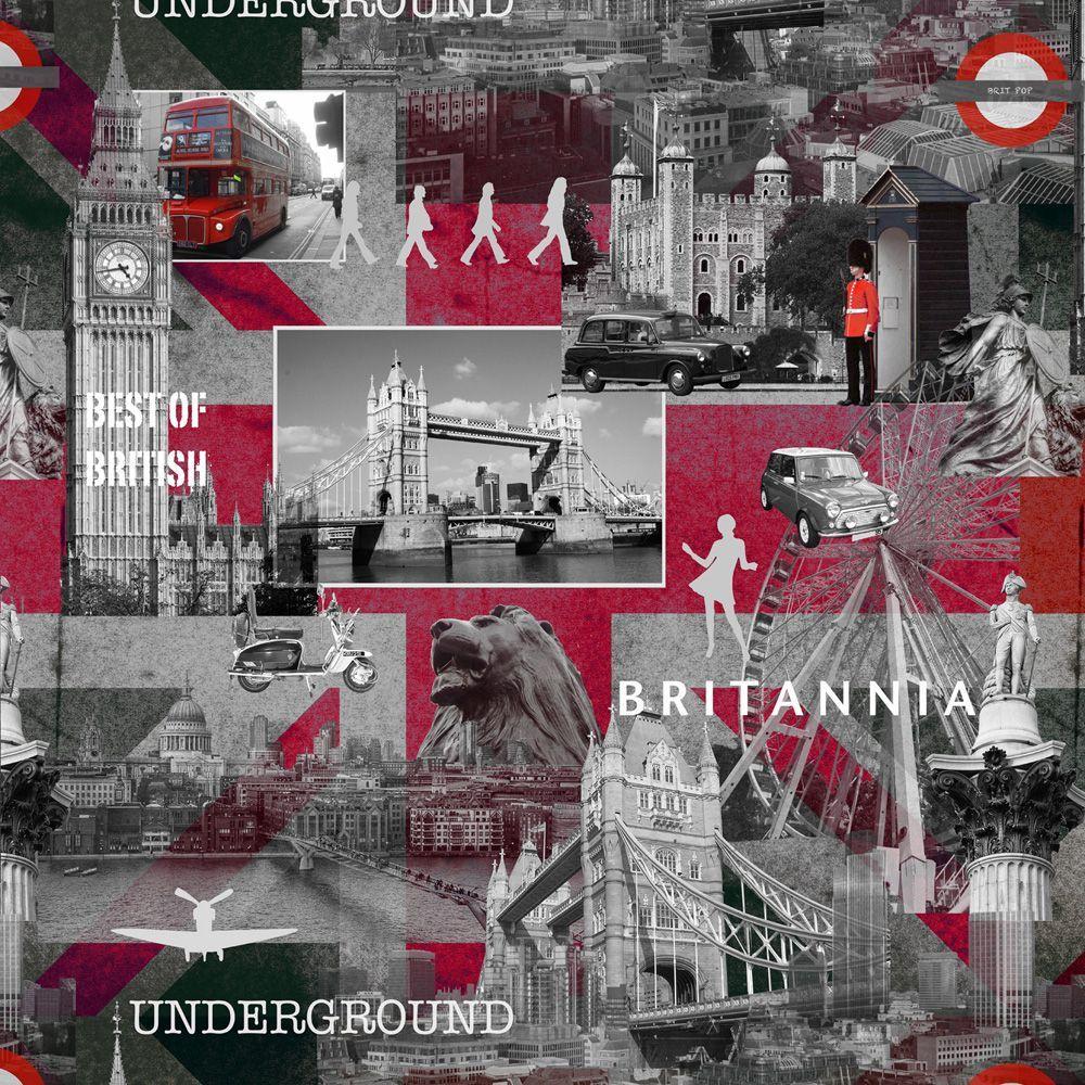 Britannia Black Grey Red Wallpaper Departments Diy At B Q London Wallpaper Grey Red Wallpaper Red Wallpaper