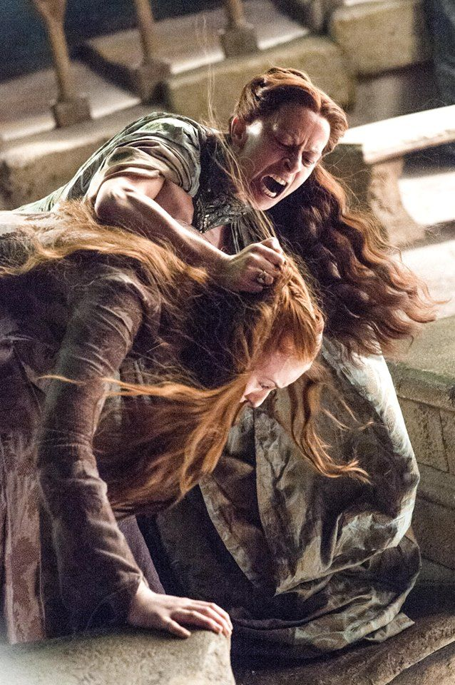 Sansa strongly resembles the deceased Catelyn. One morning, Lysa catches Petyr kissing Sansa. She blames Sansa and during a emotional row almost throws her from the Eyrie's Moon Door. Sansa is saved by the timely intervention of Petyr, who stops Lysa from sending Sansa to her death.
