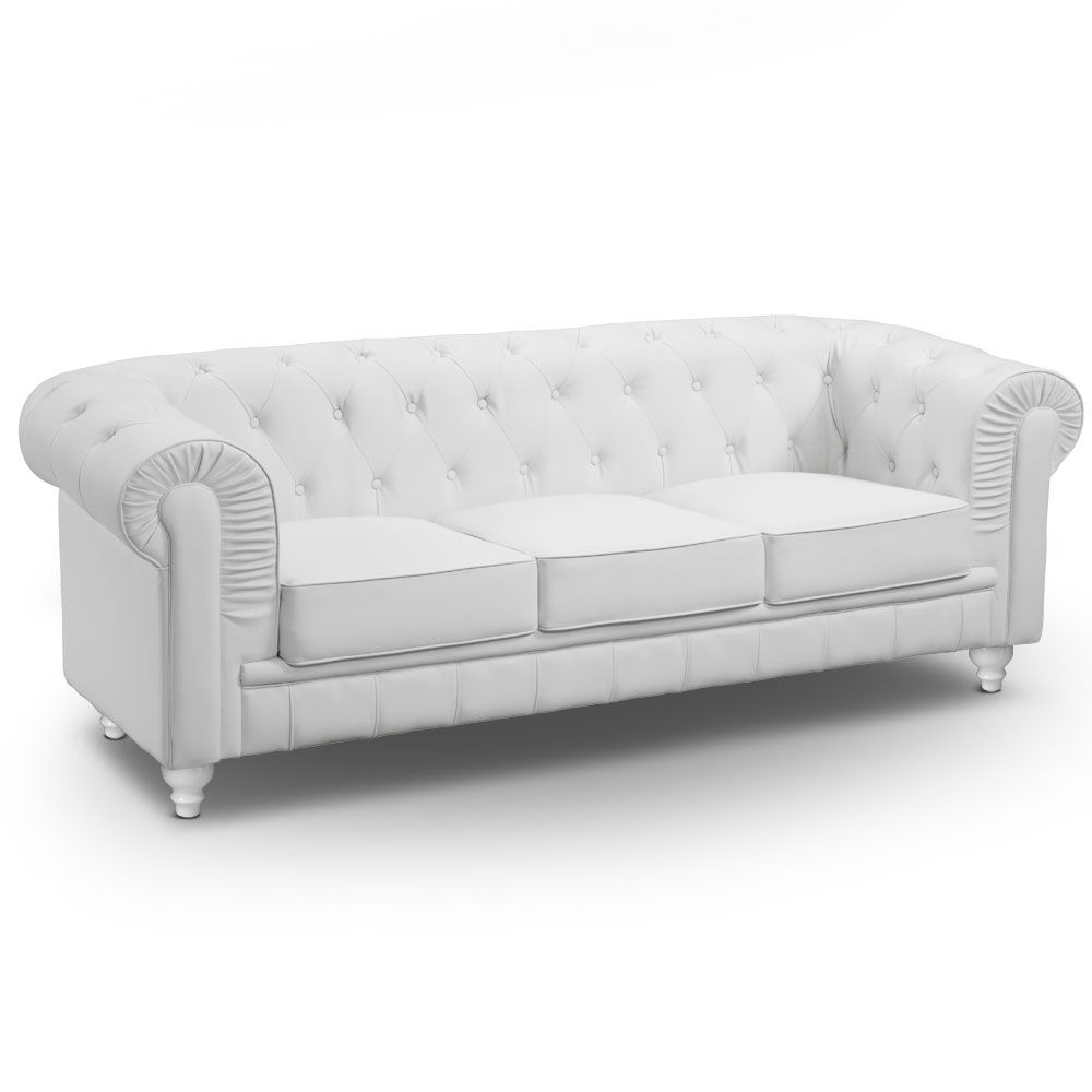 Grand Canape 3 Places Chesterfield Blanc En 2020 Canape