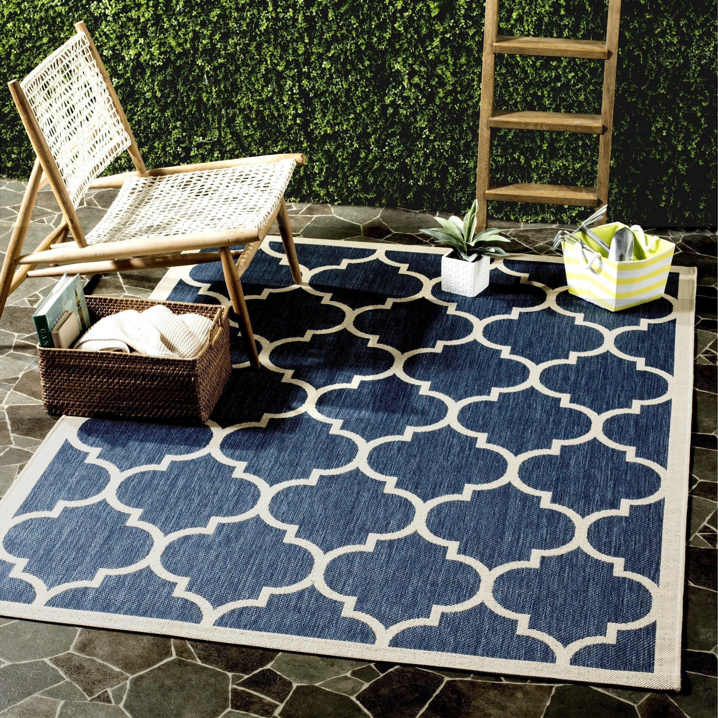 Safavieh Courtyard Moroccan Pattern Navy Beige Indoor Outdoor