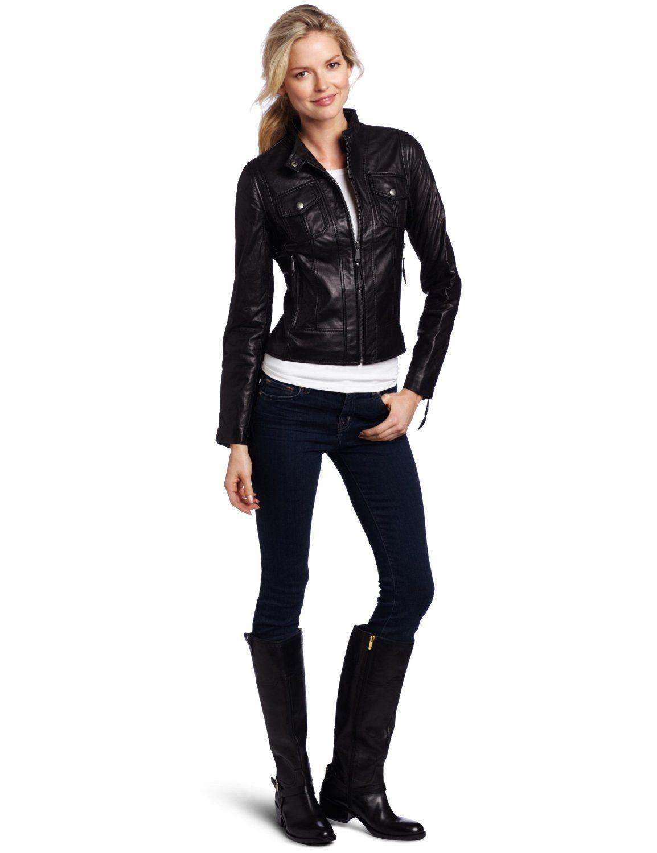 MICHAEL Michael Kors Women's Racer Leather Jacket, Black, Small at Amazon  Women's Coats Shop