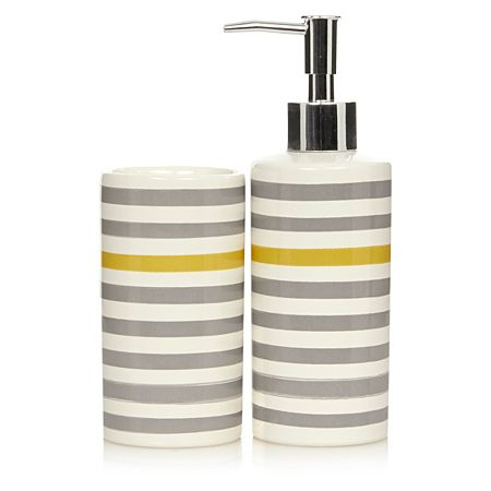 George Home Grey And Yellow Stripe Bathroom Accessories Bathroom Accessories Asda Direct Yellow Bathrooms Gray Bathroom Accessories Bathroom Accessories
