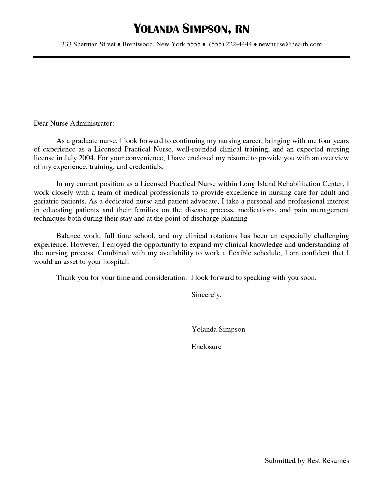 New grad nurse cover letter example cover letter for Sample cover letter for lpn position
