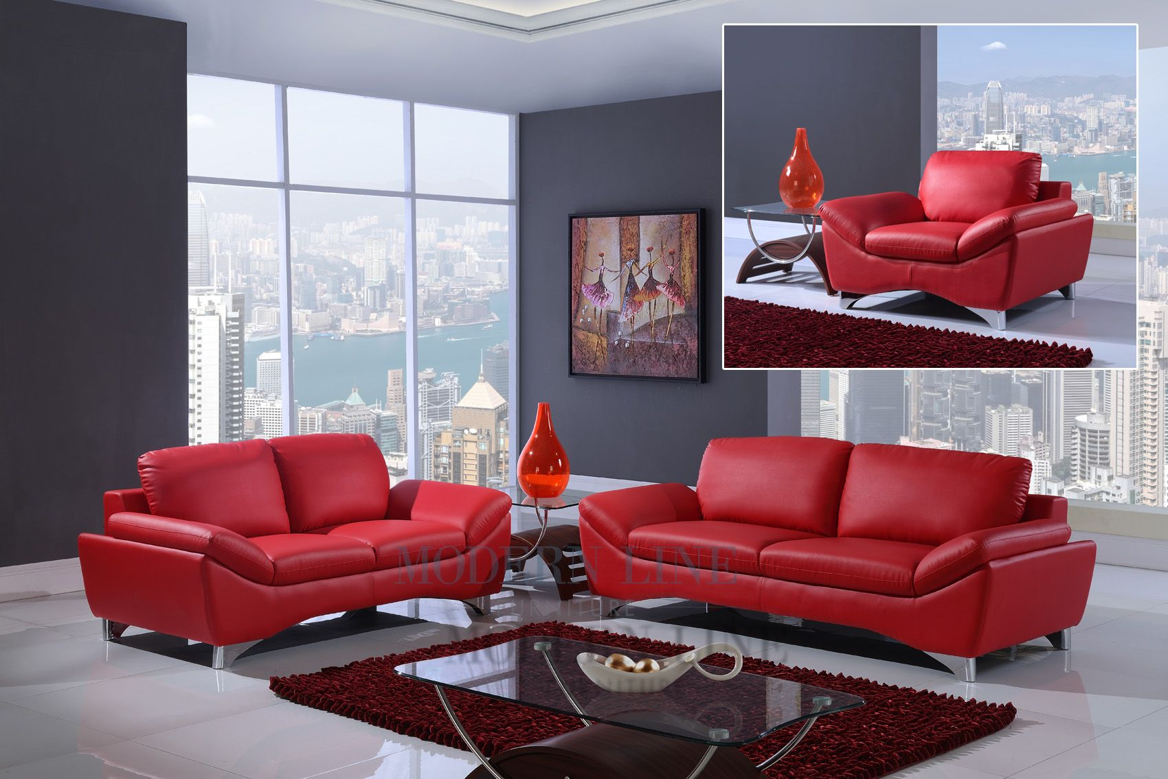 Modern Red Leather Set Of Sofa Loveseat And Chair Leather