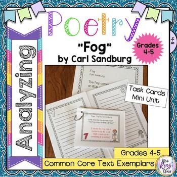 Poetry Task Cards Fog By Carl Sandburg Poetry Analysis Poetry