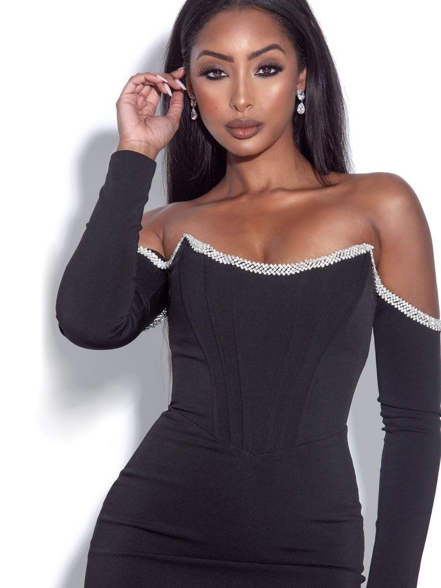 Know Your Worth Then Add Tax Miss Circle Annika Black Off Shoulder Long Sleeve Black Off Shoulder Corset Dress Off Shoulder [ 1200 x 900 Pixel ]