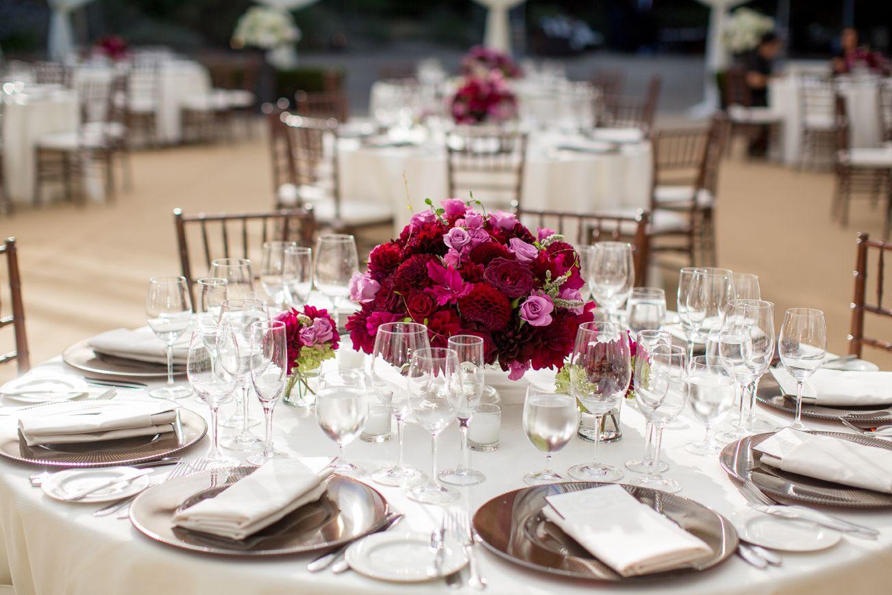 Tavolo Reception ~ Luscious burgundy pink lavender wedding reception flower